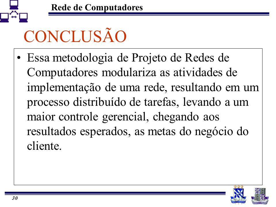 Rede de Computadores 29 OTIMIZAÇÃO Roteadores de Conteúdo (Content Routers): a função do típico roteador é enviar os dados de um ponto a outro através