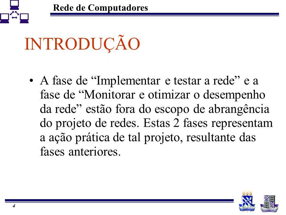Rede de Computadores 3 ROTEIRO DA APRESENTAÇÃO Introdução Conceituação Implementação – Planos Monitoramento Otimização Conclusão Bibliografia