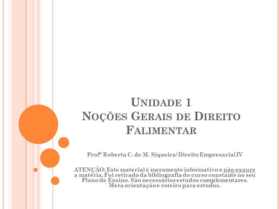 U NIDADE 1 N OÇÕES G ERAIS DE D IREITO F ALIMENTAR Profª Roberta C. de M. Siqueira/ Direito Empresarial IV ATENÇÃO: Este material é meramente informat