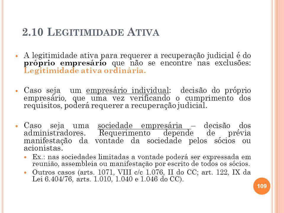 2.10 L EGITIMIDADE A TIVA A legitimidade ativa para requerer a recuperação judicial é do próprio empresário que não se encontre nas exclusões: Legitim