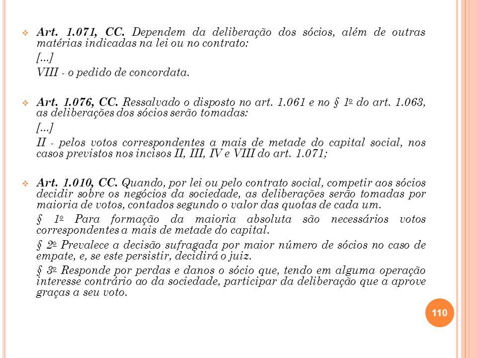 Art. 1.071, CC. Dependem da deliberação dos sócios, além de outras matérias indicadas na lei ou no contrato: [...] VIII - o pedido de concordata. Art.