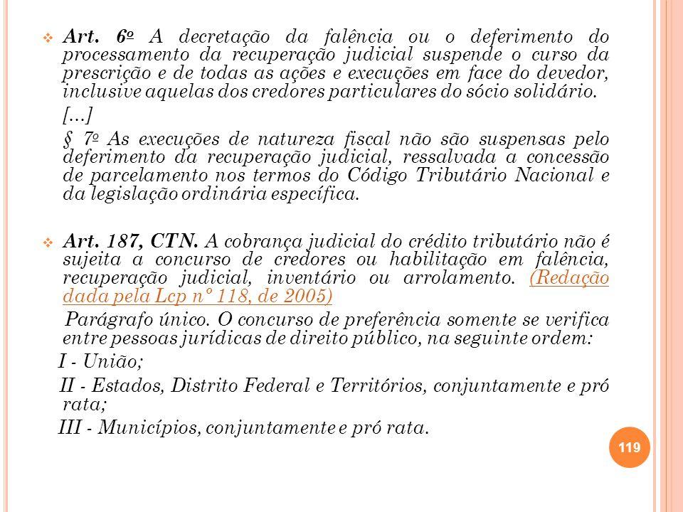 Art. 6 o A decretação da falência ou o deferimento do processamento da recuperação judicial suspende o curso da prescrição e de todas as ações e execu