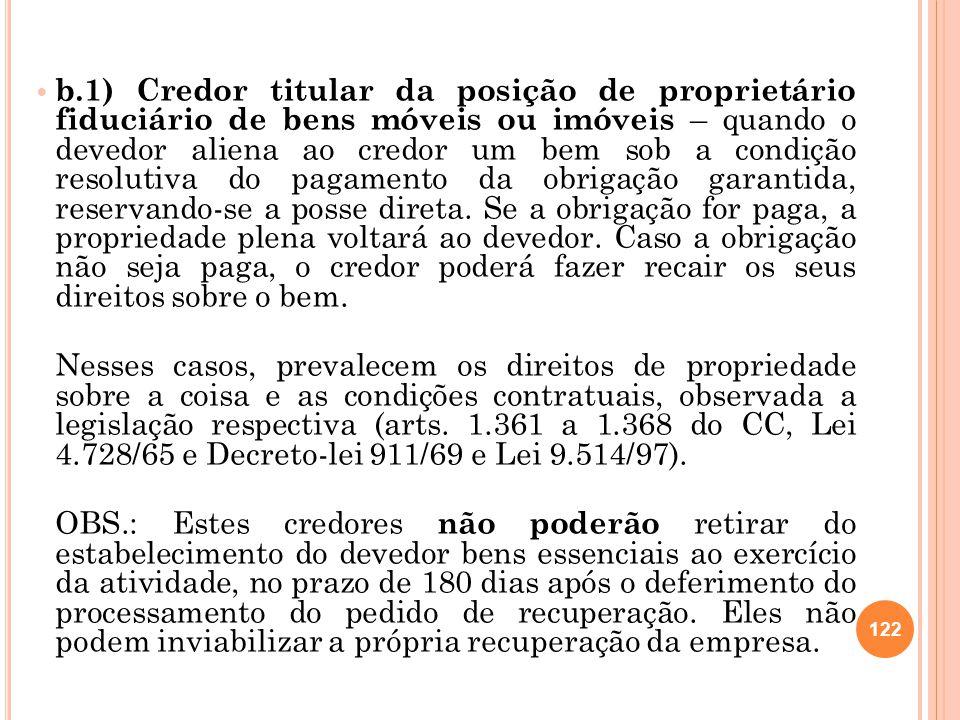 b.1) Credor titular da posição de proprietário fiduciário de bens móveis ou imóveis – quando o devedor aliena ao credor um bem sob a condição resoluti
