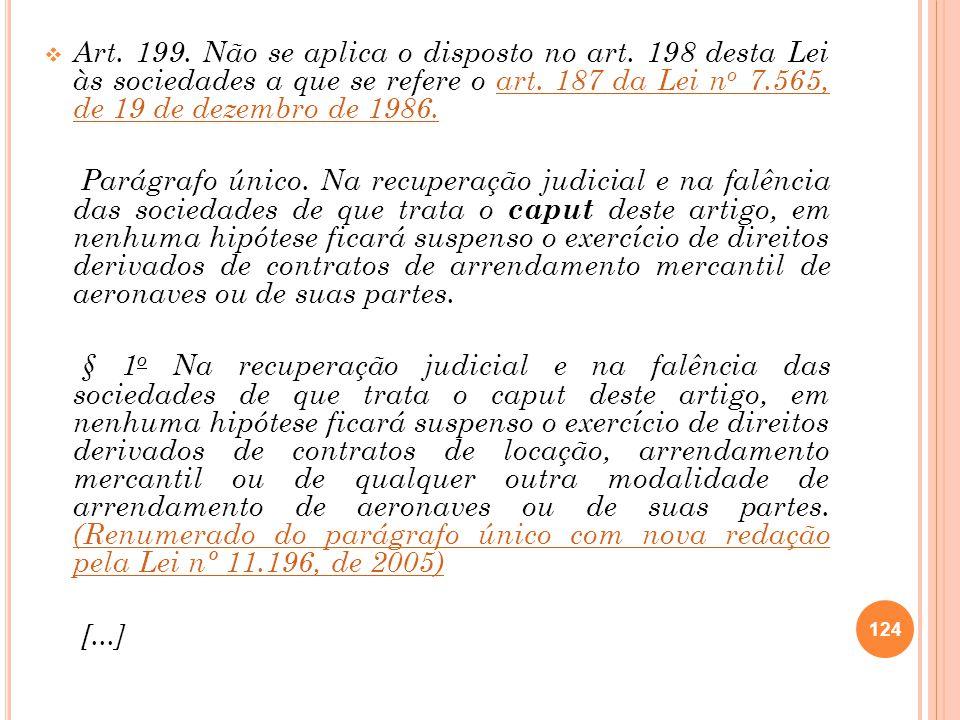Art. 199. Não se aplica o disposto no art. 198 desta Lei às sociedades a que se refere o art. 187 da Lei n o 7.565, de 19 de dezembro de 1986.art. 187