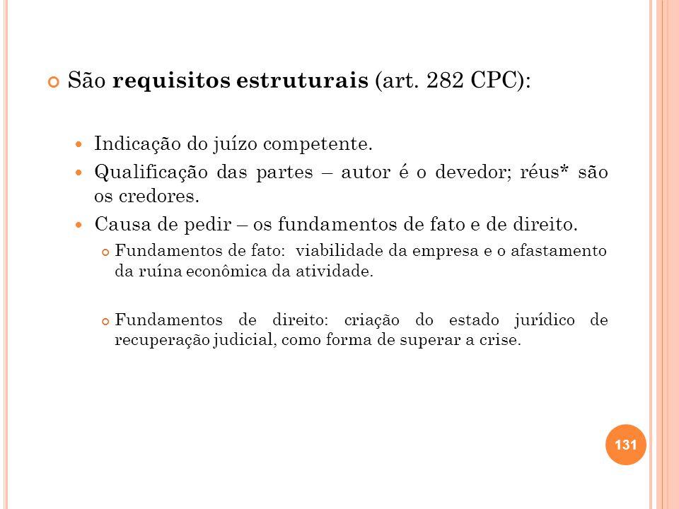 São requisitos estruturais (art. 282 CPC): Indicação do juízo competente. Qualificação das partes – autor é o devedor; réus* são os credores. Causa de