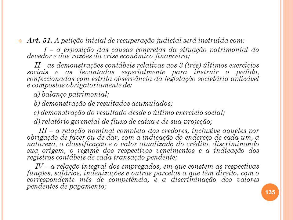 Art. 51. A petição inicial de recuperação judicial será instruída com: I – a exposição das causas concretas da situação patrimonial do devedor e das r