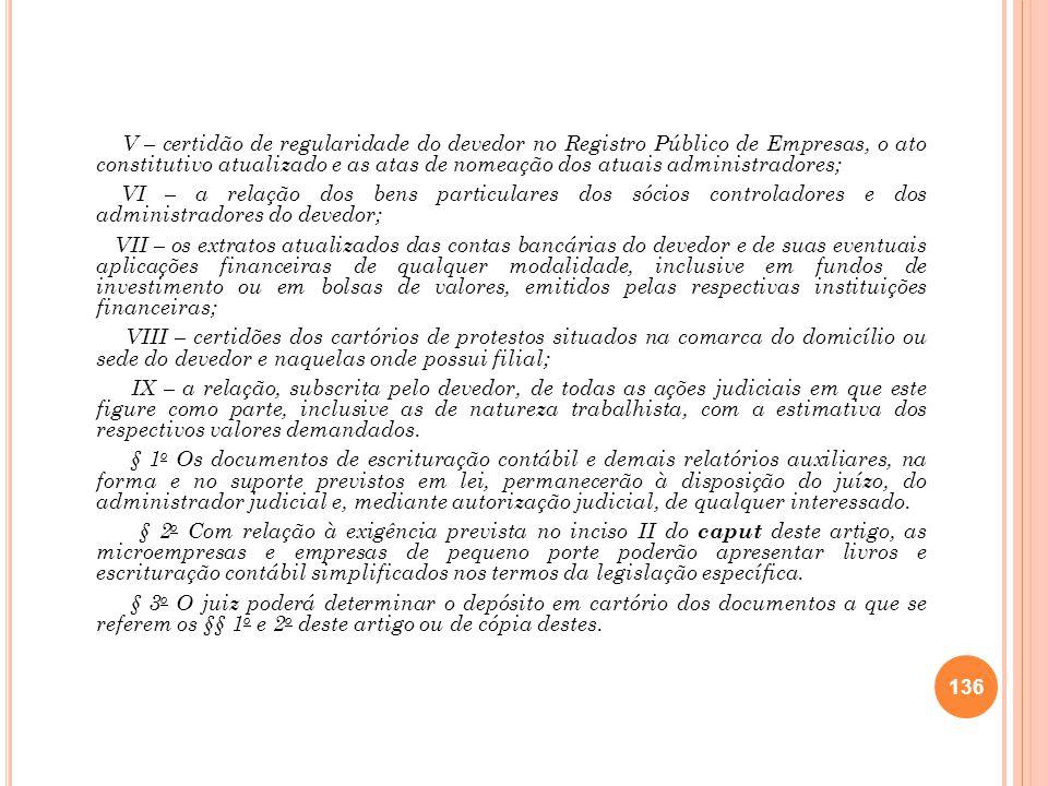 V – certidão de regularidade do devedor no Registro Público de Empresas, o ato constitutivo atualizado e as atas de nomeação dos atuais administradore