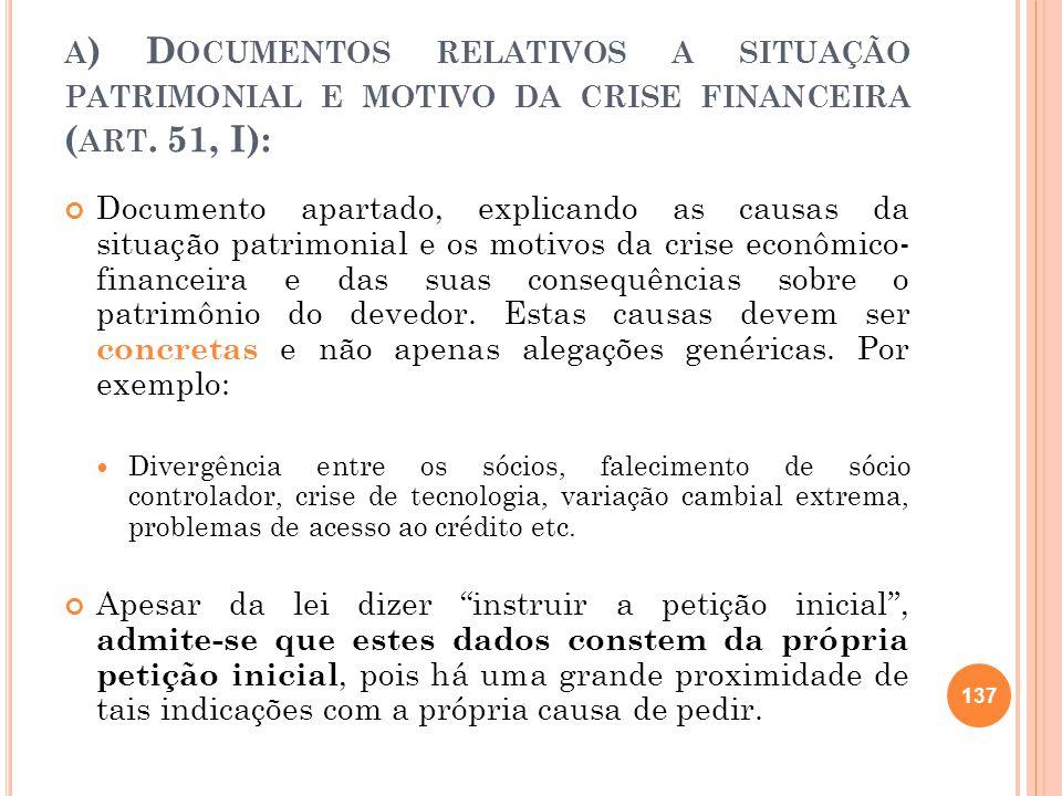 A ) D OCUMENTOS RELATIVOS A SITUAÇÃO PATRIMONIAL E MOTIVO DA CRISE FINANCEIRA ( ART. 51, I): Documento apartado, explicando as causas da situação patr