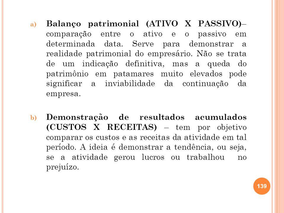 a) Balanço patrimonial (ATIVO X PASSIVO) – comparação entre o ativo e o passivo em determinada data. Serve para demonstrar a realidade patrimonial do