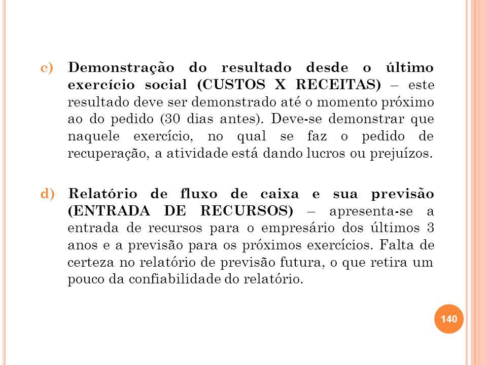 c) Demonstração do resultado desde o último exercício social (CUSTOS X RECEITAS) – este resultado deve ser demonstrado até o momento próximo ao do ped