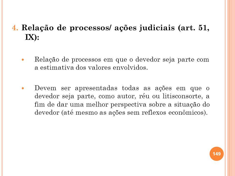 4. Relação de processos/ ações judiciais (art. 51, IX): Relação de processos em que o devedor seja parte com a estimativa dos valores envolvidos. Deve