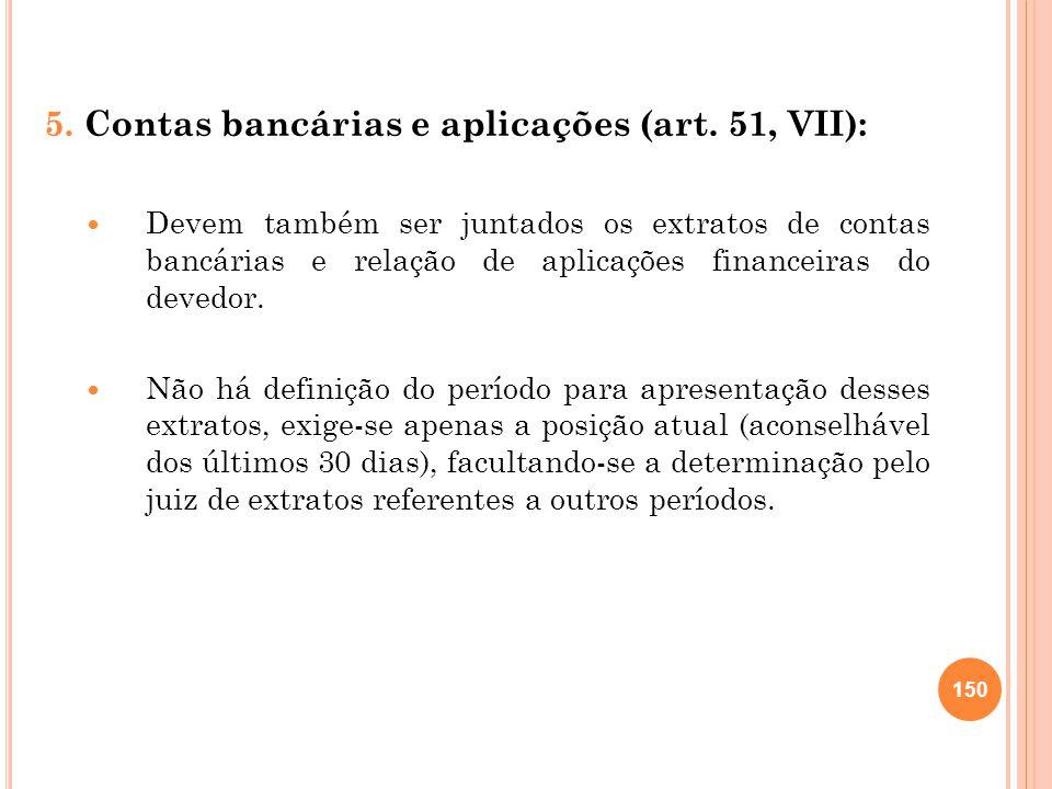 5. Contas bancárias e aplicações (art. 51, VII): Devem também ser juntados os extratos de contas bancárias e relação de aplicações financeiras do deve