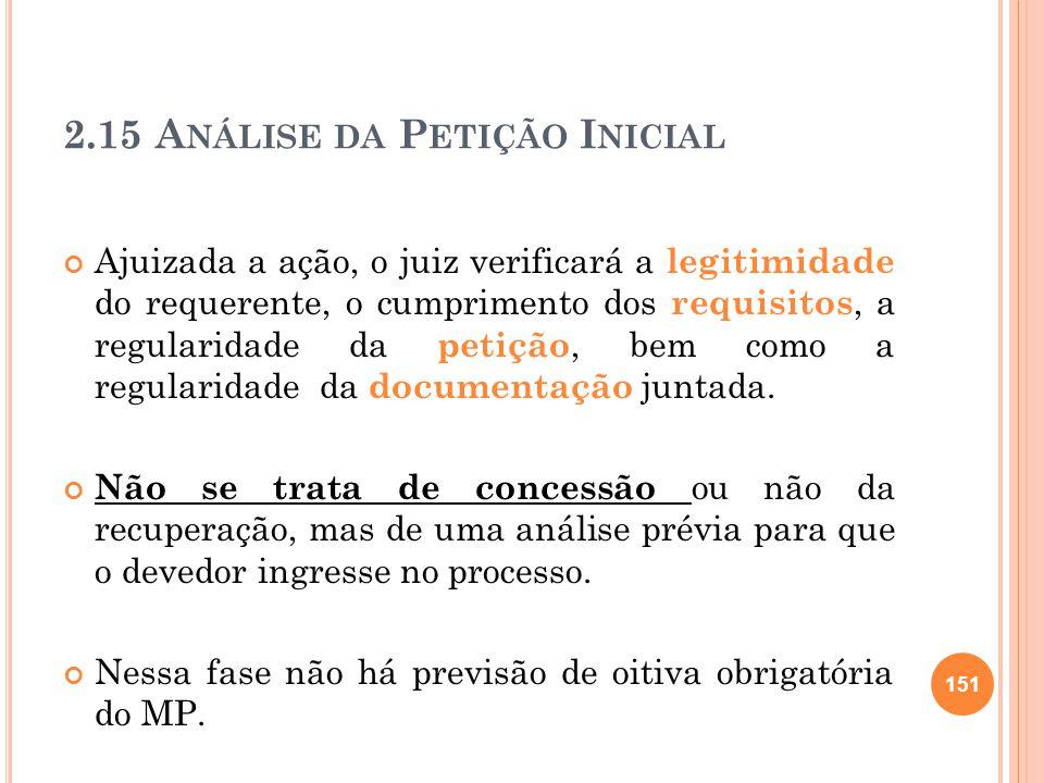 2.15 A NÁLISE DA P ETIÇÃO I NICIAL Ajuizada a ação, o juiz verificará a legitimidade do requerente, o cumprimento dos requisitos, a regularidade da pe