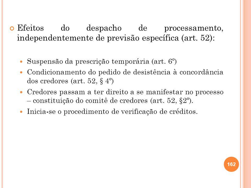 Efeitos do despacho de processamento, independentemente de previsão específica (art. 52): Suspensão da prescrição temporária (art. 6º) Condicionamento