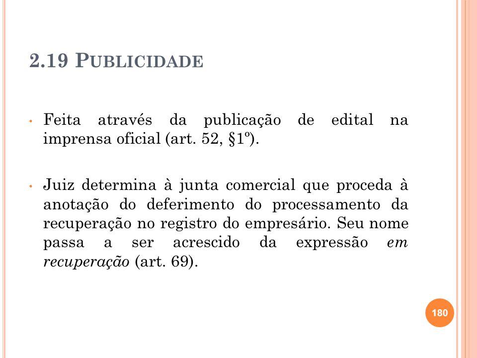 2.19 P UBLICIDADE Feita através da publicação de edital na imprensa oficial (art. 52, §1º). Juiz determina à junta comercial que proceda à anotação do