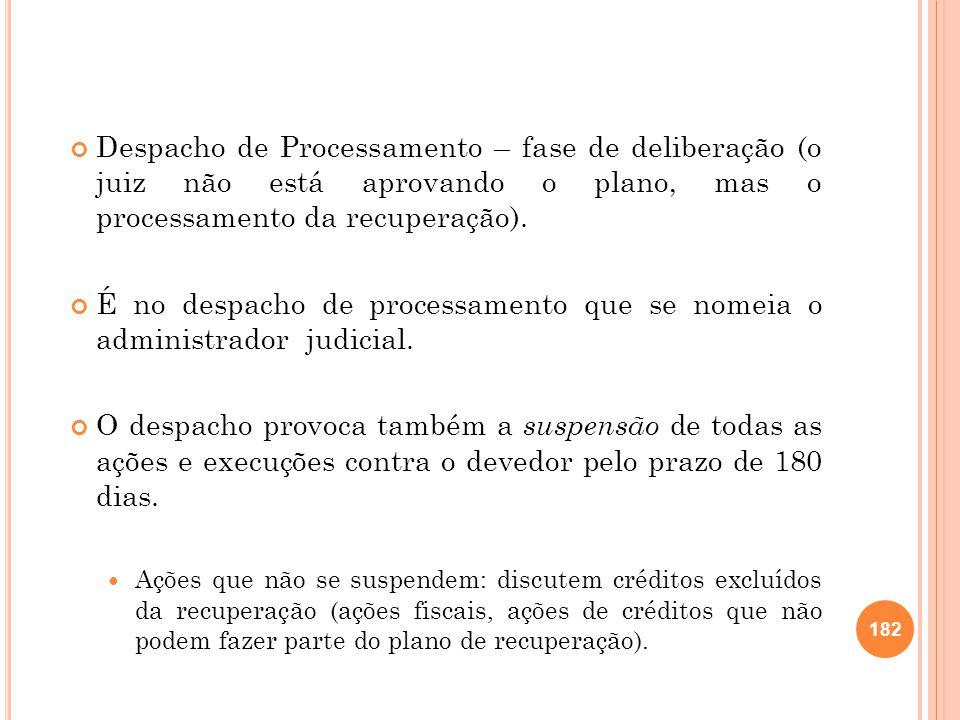 Despacho de Processamento – fase de deliberação (o juiz não está aprovando o plano, mas o processamento da recuperação). É no despacho de processament