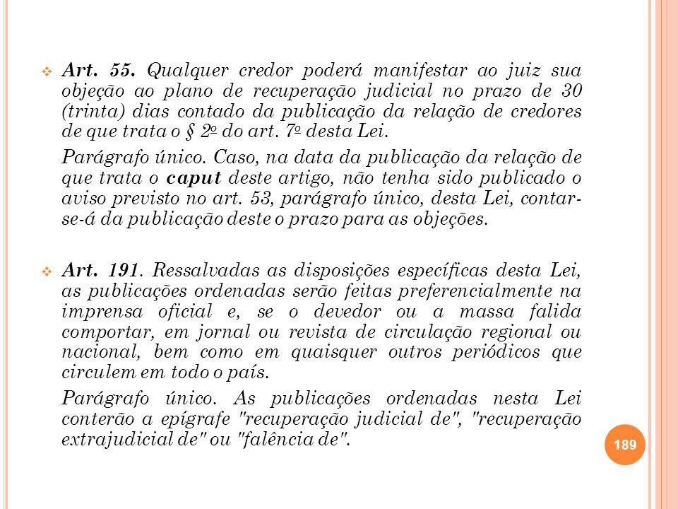 Art. 55. Qualquer credor poderá manifestar ao juiz sua objeção ao plano de recuperação judicial no prazo de 30 (trinta) dias contado da publicação da
