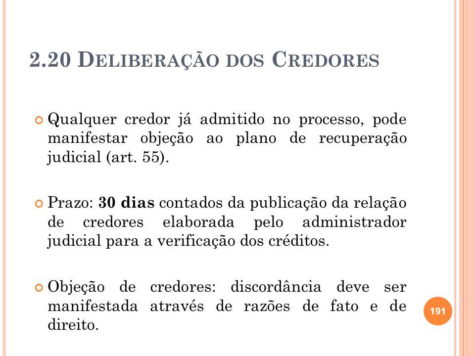 2.20 D ELIBERAÇÃO DOS C REDORES Qualquer credor já admitido no processo, pode manifestar objeção ao plano de recuperação judicial (art. 55). Prazo: 30