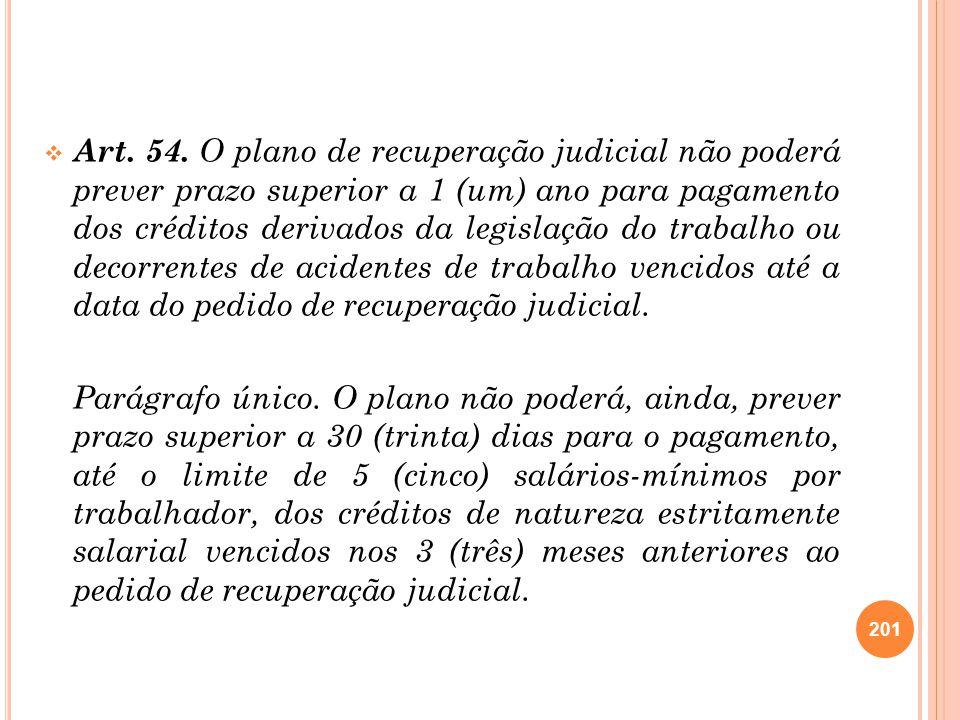 Art. 54. O plano de recuperação judicial não poderá prever prazo superior a 1 (um) ano para pagamento dos créditos derivados da legislação do trabalho