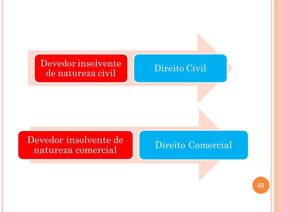 Devedor insolvente de natureza civil Direito Civil Devedor insolvente de natureza comercial Direito Comercial 22
