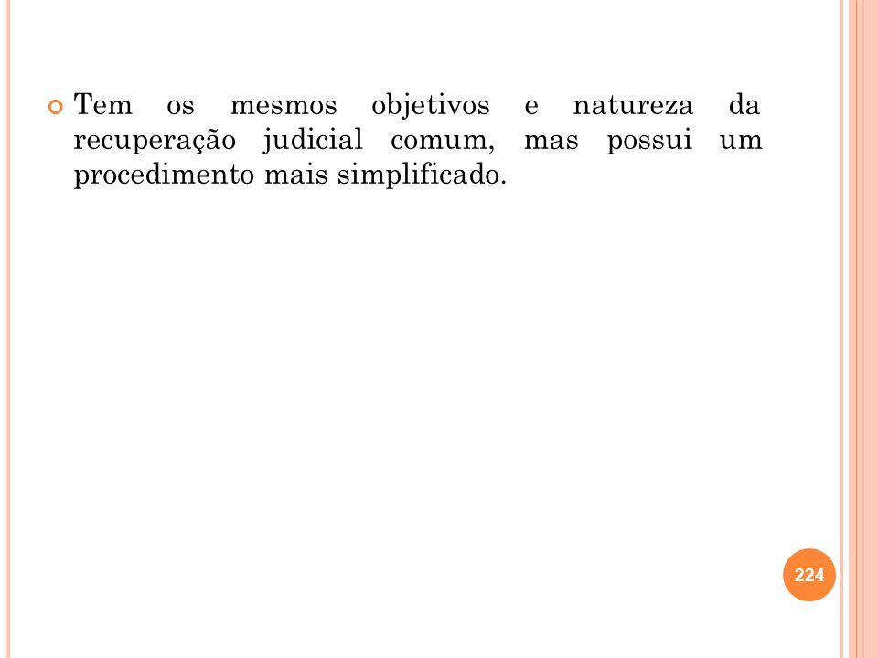 224 Tem os mesmos objetivos e natureza da recuperação judicial comum, mas possui um procedimento mais simplificado.