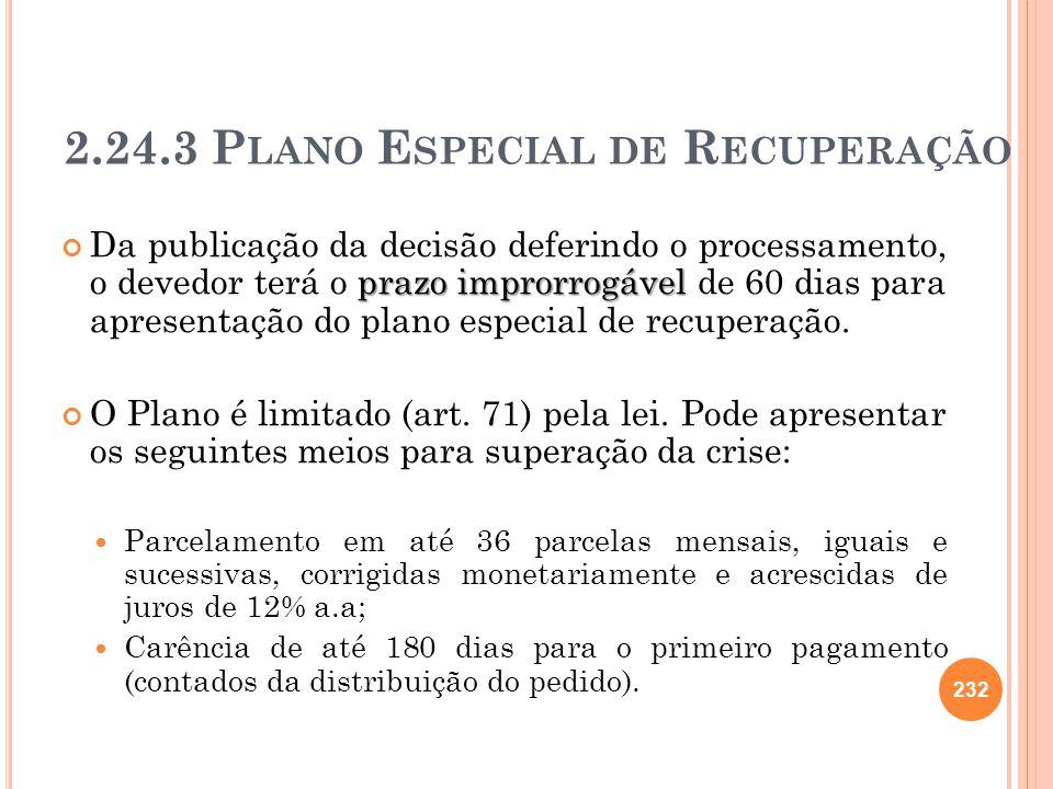 232 2.24.3 P LANO E SPECIAL DE R ECUPERAÇÃO prazo improrrogável Da publicação da decisão deferindo o processamento, o devedor terá o prazo improrrogáv
