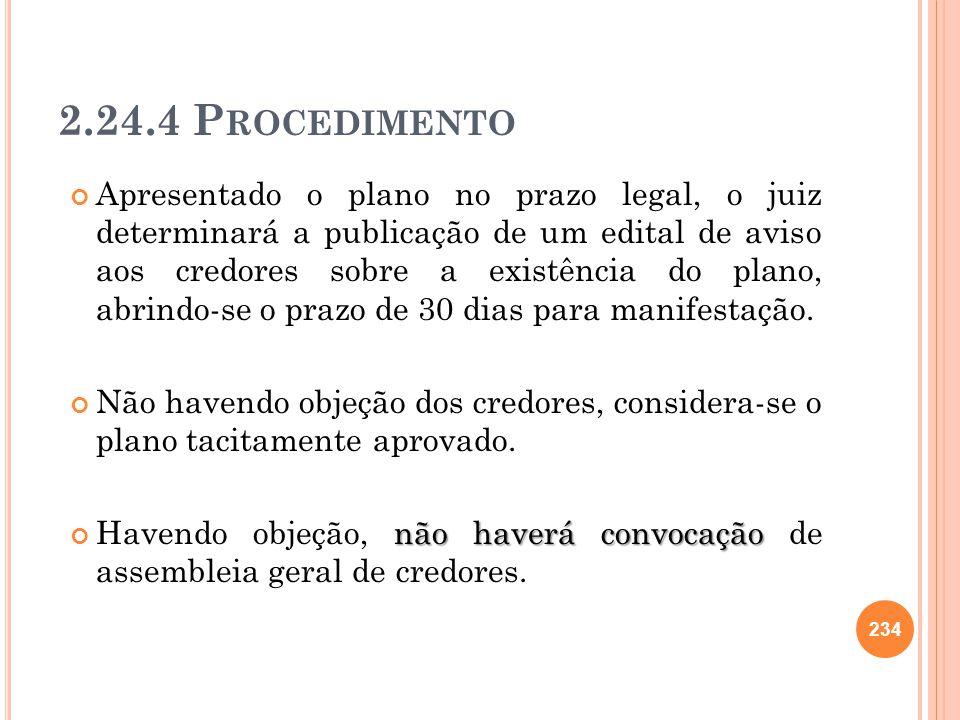 2.24.4 P ROCEDIMENTO Apresentado o plano no prazo legal, o juiz determinará a publicação de um edital de aviso aos credores sobre a existência do plan
