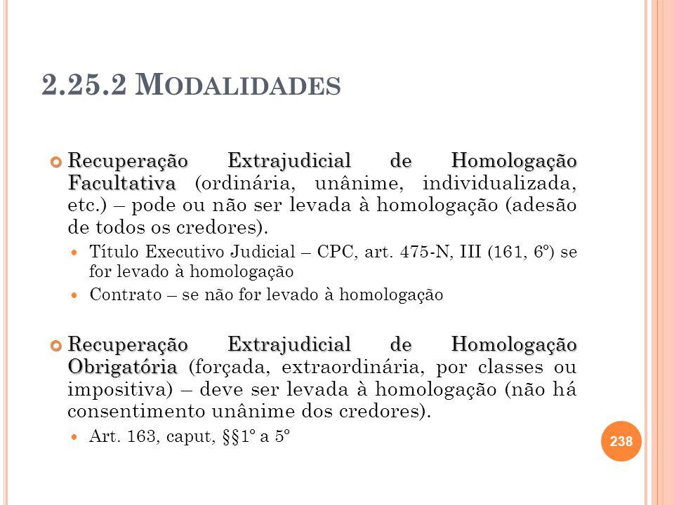 2.25.2 M ODALIDADES Recuperação Extrajudicial de Homologação Facultativa Recuperação Extrajudicial de Homologação Facultativa (ordinária, unânime, ind