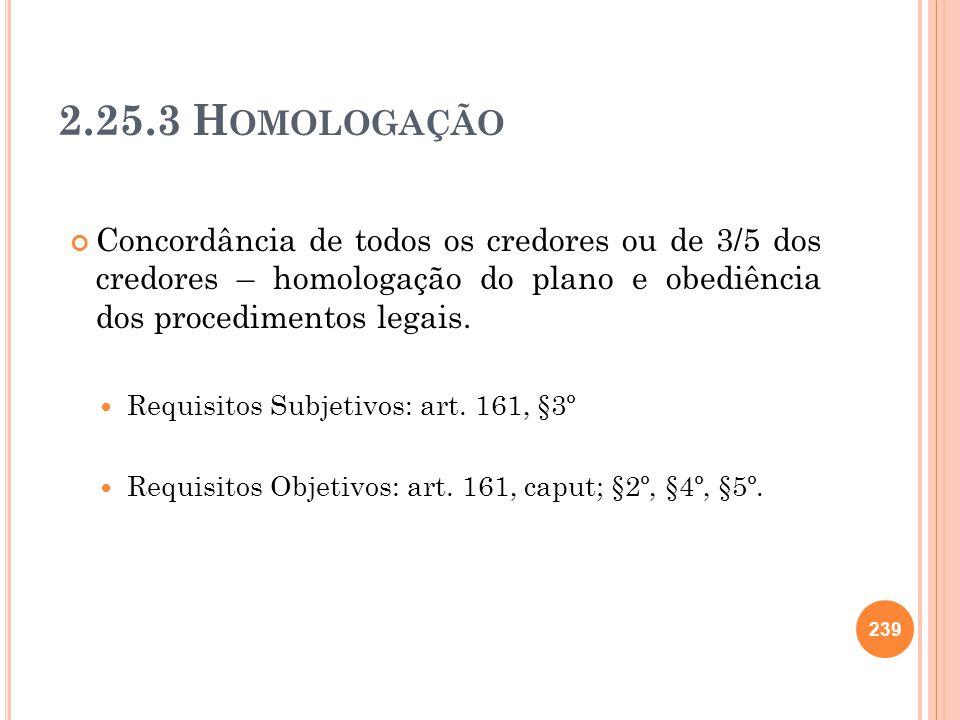 2.25.3 H OMOLOGAÇÃO Concordância de todos os credores ou de 3/5 dos credores – homologação do plano e obediência dos procedimentos legais. Requisitos