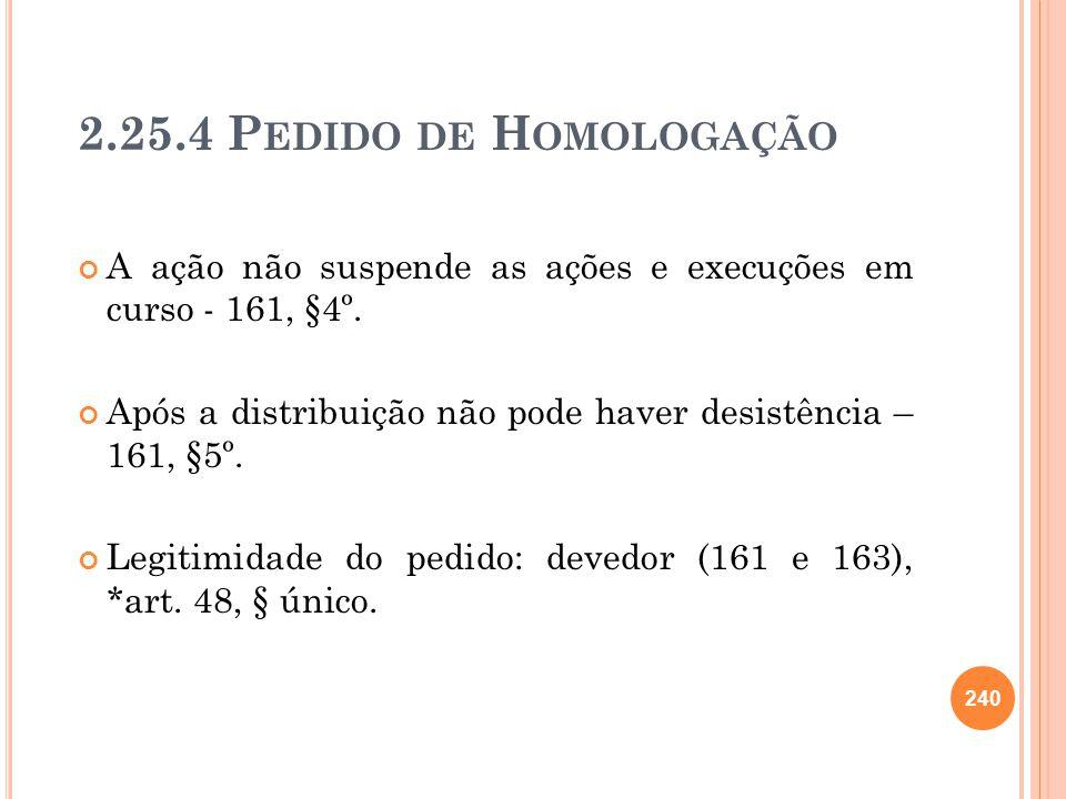 2.25.4 P EDIDO DE H OMOLOGAÇÃO A ação não suspende as ações e execuções em curso - 161, §4º. Após a distribuição não pode haver desistência – 161, §5º