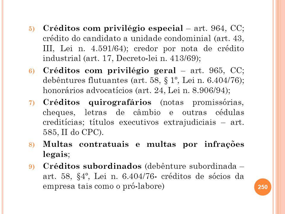 5) Créditos com privilégio especial – art. 964, CC; crédito do candidato a unidade condominial (art. 43, III, Lei n. 4.591/64); credor por nota de cré
