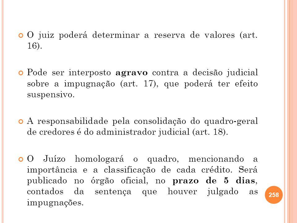 O juiz poderá determinar a reserva de valores (art. 16). Pode ser interposto agravo contra a decisão judicial sobre a impugnação (art. 17), que poderá