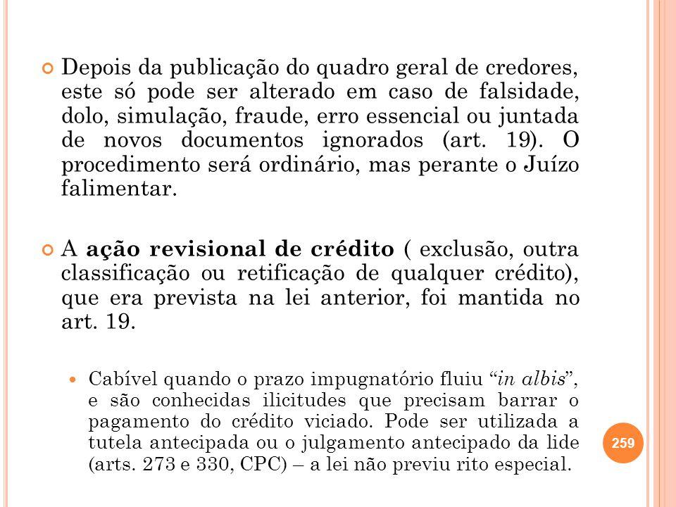 Depois da publicação do quadro geral de credores, este só pode ser alterado em caso de falsidade, dolo, simulação, fraude, erro essencial ou juntada d