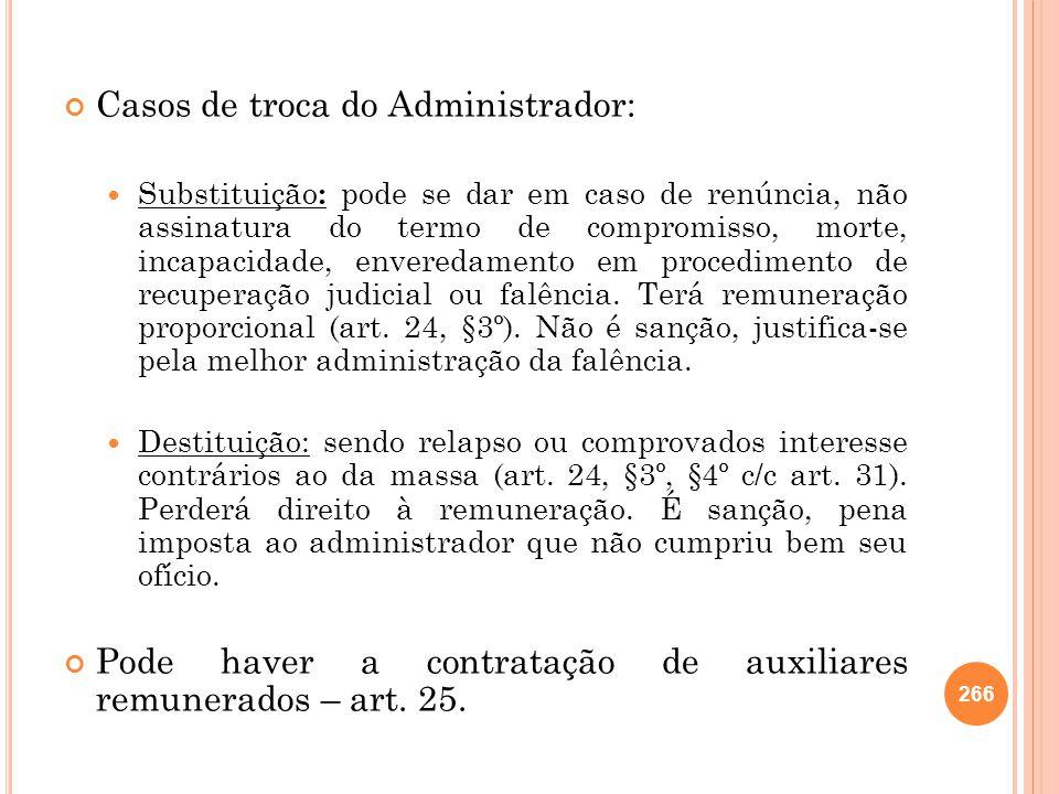 Casos de troca do Administrador: Substituição : pode se dar em caso de renúncia, não assinatura do termo de compromisso, morte, incapacidade, envereda