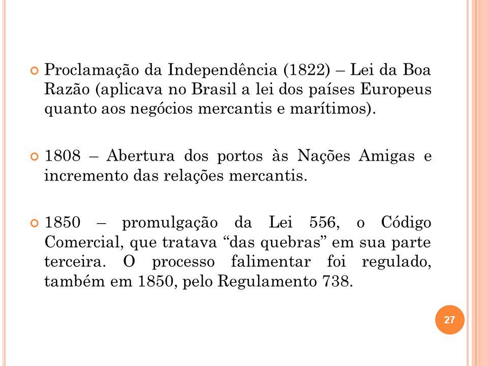 Proclamação da Independência (1822) – Lei da Boa Razão (aplicava no Brasil a lei dos países Europeus quanto aos negócios mercantis e marítimos). 1808