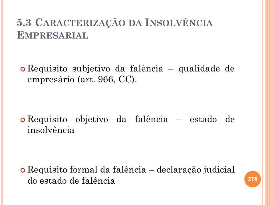 5.3 C ARACTERIZAÇÃO DA I NSOLVÊNCIA E MPRESARIAL Requisito subjetivo da falência – qualidade de empresário (art. 966, CC). Requisito objetivo da falên