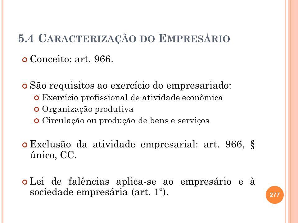 5.4 C ARACTERIZAÇÃO DO E MPRESÁRIO Conceito: art. 966. São requisitos ao exercício do empresariado: Exercício profissional de atividade econômica Orga