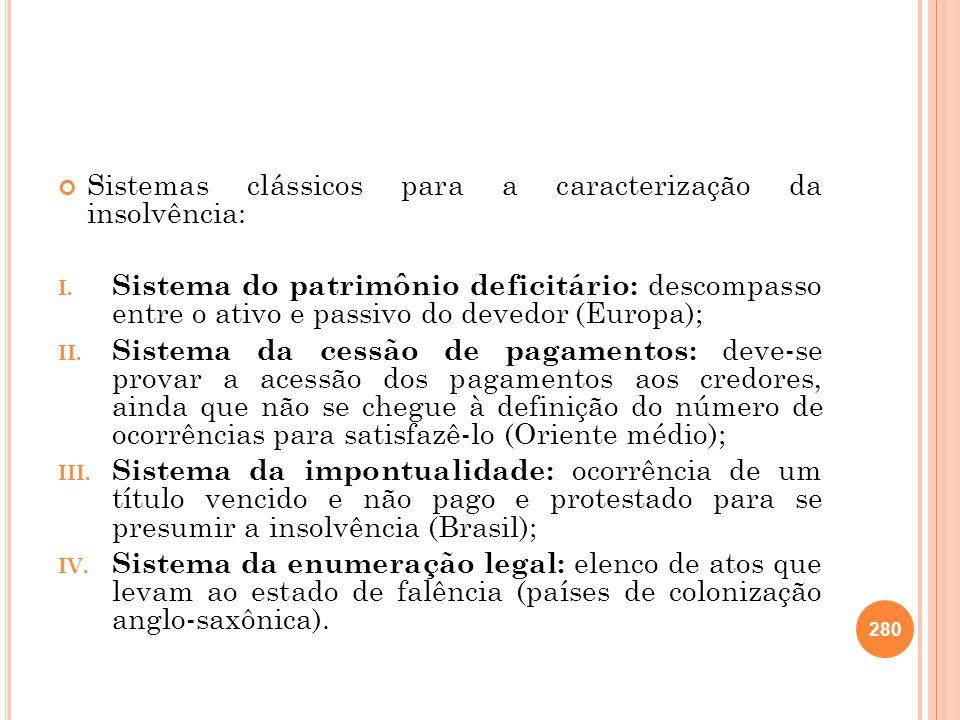 Sistemas clássicos para a caracterização da insolvência: I. Sistema do patrimônio deficitário: descompasso entre o ativo e passivo do devedor (Europa)