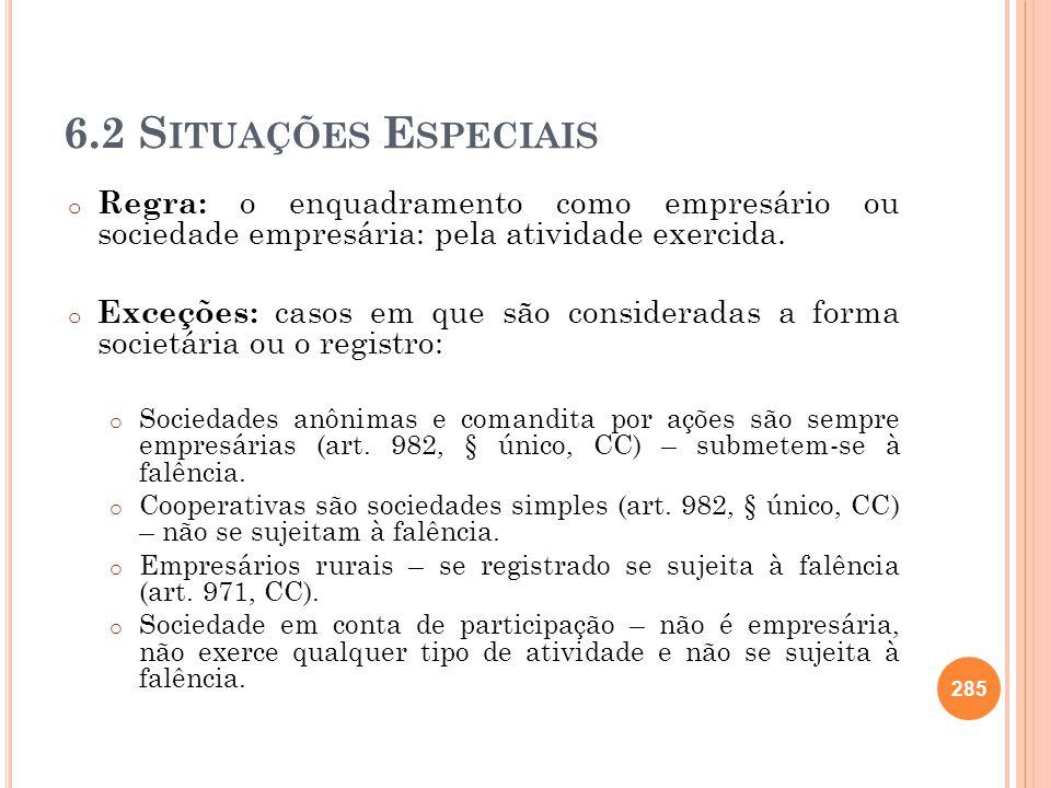 6.2 S ITUAÇÕES E SPECIAIS o Regra: o enquadramento como empresário ou sociedade empresária: pela atividade exercida. o Exceções: casos em que são cons