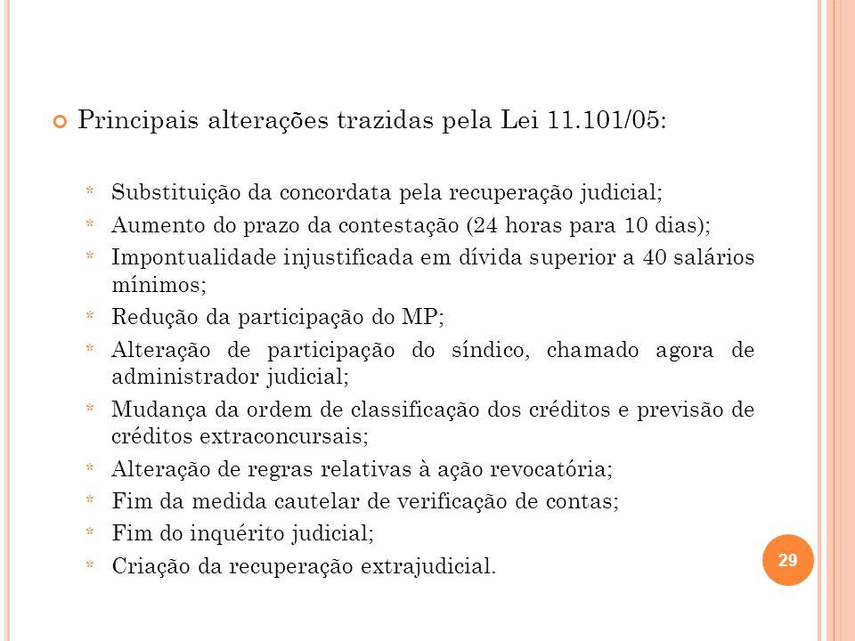 Principais alterações trazidas pela Lei 11.101/05: * Substituição da concordata pela recuperação judicial; * Aumento do prazo da contestação (24 horas