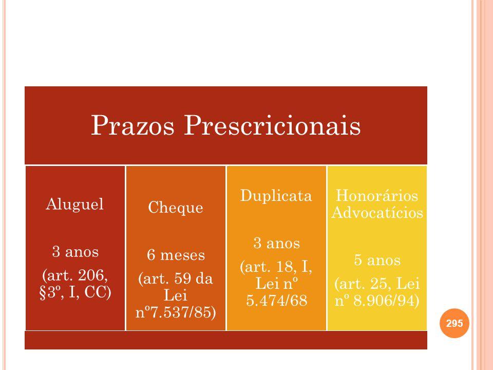 Prazos Prescricionais Aluguel 3 anos (art. 206, §3º, I, CC) Cheque 6 meses (art. 59 da Lei nº7.537/85) Duplicata 3 anos (art. 18, I, Lei nº 5.474/68 H