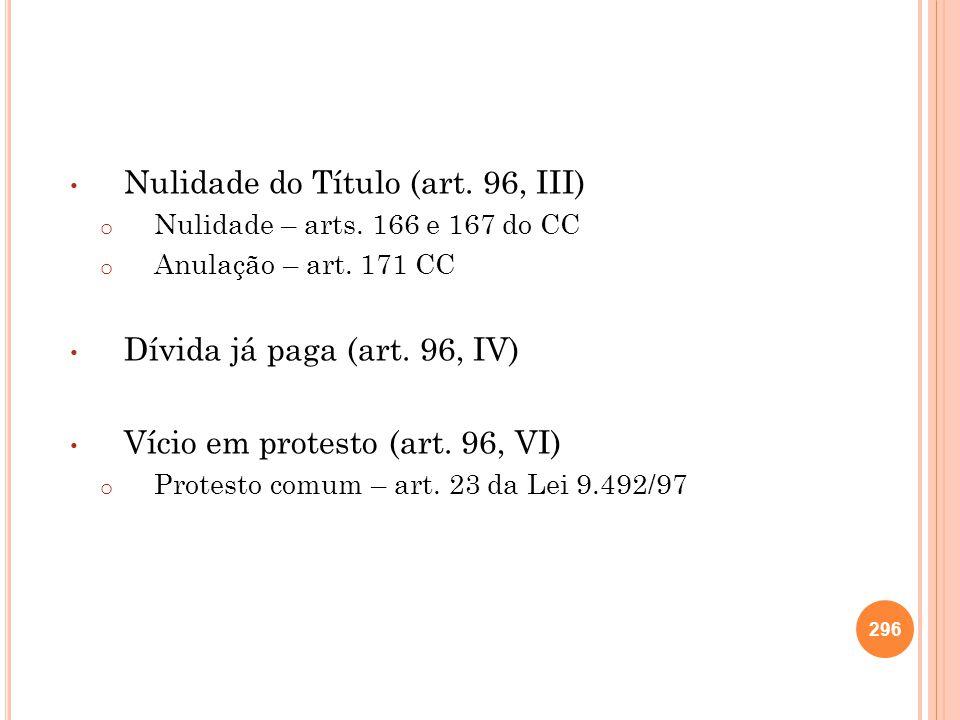Nulidade do Título (art. 96, III) o Nulidade – arts. 166 e 167 do CC o Anulação – art. 171 CC Dívida já paga (art. 96, IV) Vício em protesto (art. 96,