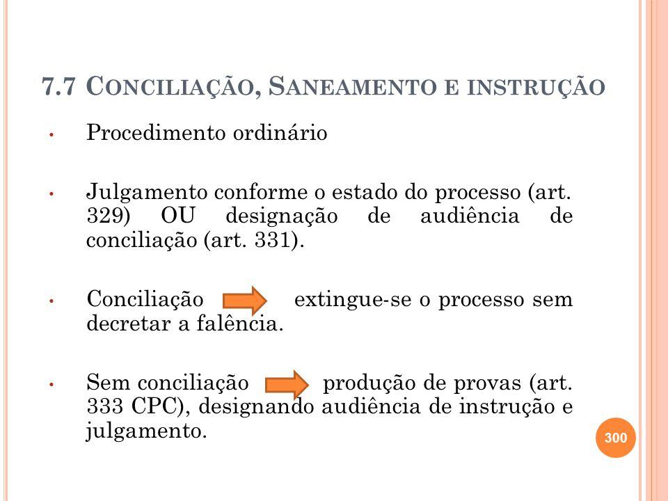 7.7 C ONCILIAÇÃO, S ANEAMENTO E INSTRUÇÃO Procedimento ordinário Julgamento conforme o estado do processo (art. 329) OU designação de audiência de con