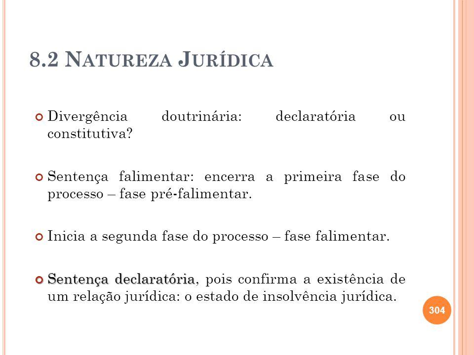 8.2 N ATUREZA J URÍDICA Divergência doutrinária: declaratória ou constitutiva? Sentença falimentar: encerra a primeira fase do processo – fase pré-fal