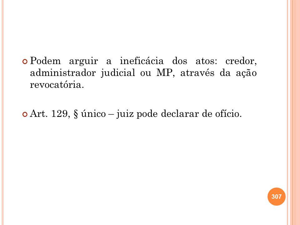 Podem arguir a ineficácia dos atos: credor, administrador judicial ou MP, através da ação revocatória. Art. 129, § único – juiz pode declarar de ofíci