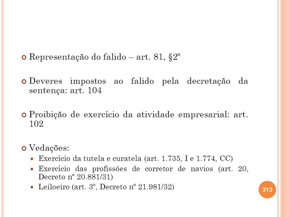 Representação do falido – art. 81, §2º Deveres impostos ao falido pela decretação da sentença: art. 104 Proibição de exercício da atividade empresaria