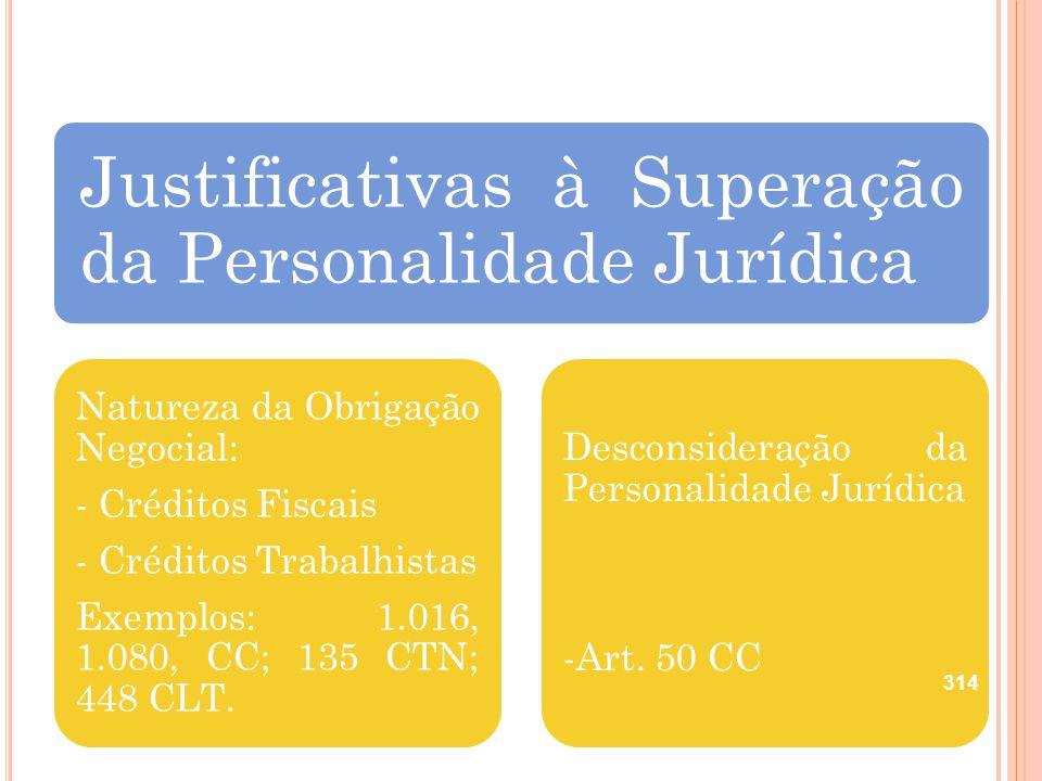 Justificativas à Superação da Personalidade Jurídica Natureza da Obrigação Negocial: - Créditos Fiscais - Créditos Trabalhistas Exemplos: 1.016, 1.080
