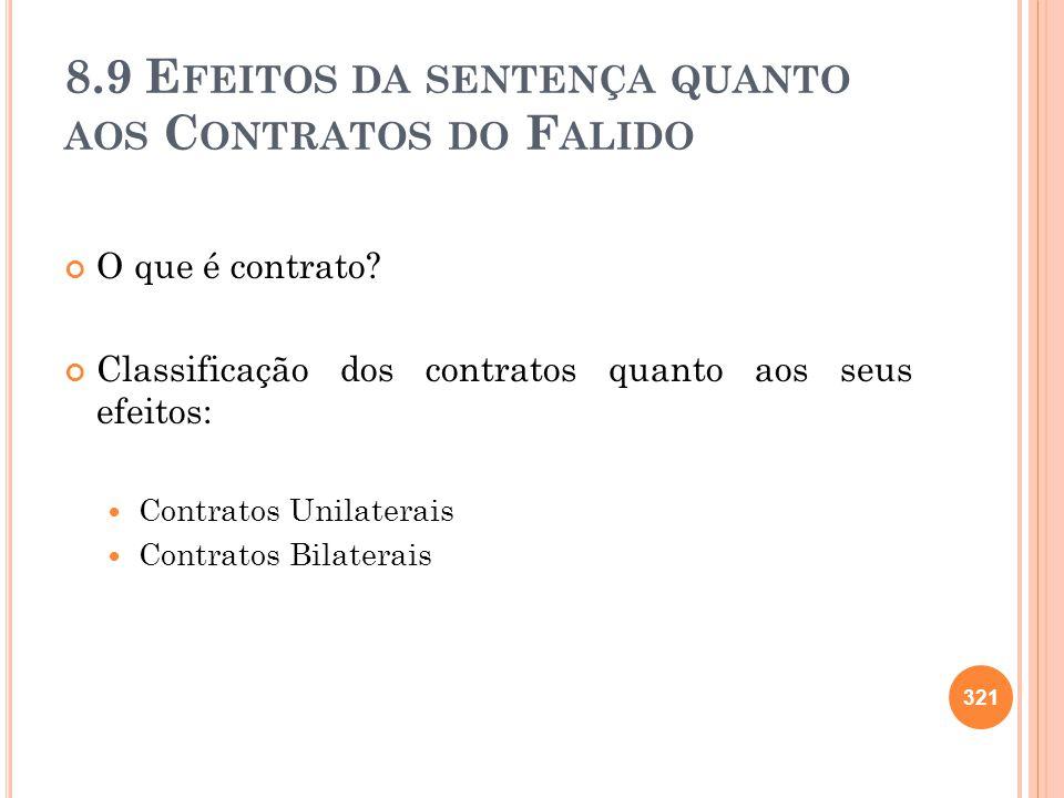 8.9 E FEITOS DA SENTENÇA QUANTO AOS C ONTRATOS DO F ALIDO O que é contrato? Classificação dos contratos quanto aos seus efeitos: Contratos Unilaterais