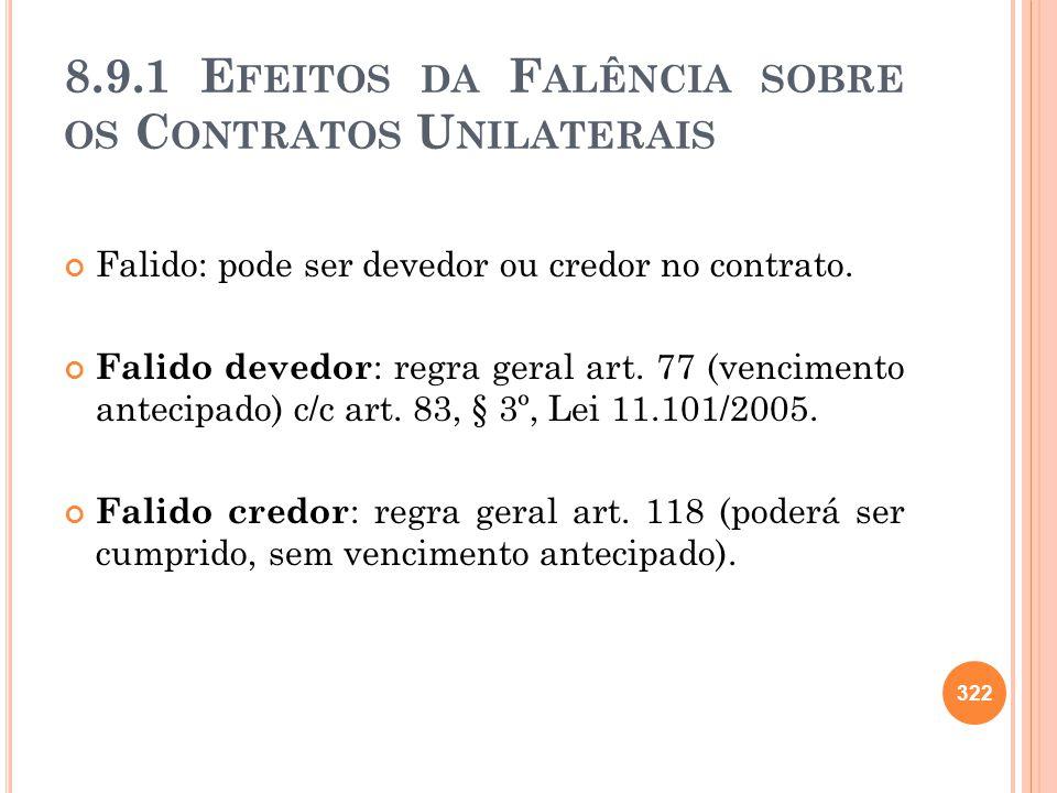 8.9.1 E FEITOS DA F ALÊNCIA SOBRE OS C ONTRATOS U NILATERAIS Falido: pode ser devedor ou credor no contrato. Falido devedor : regra geral art. 77 (ven