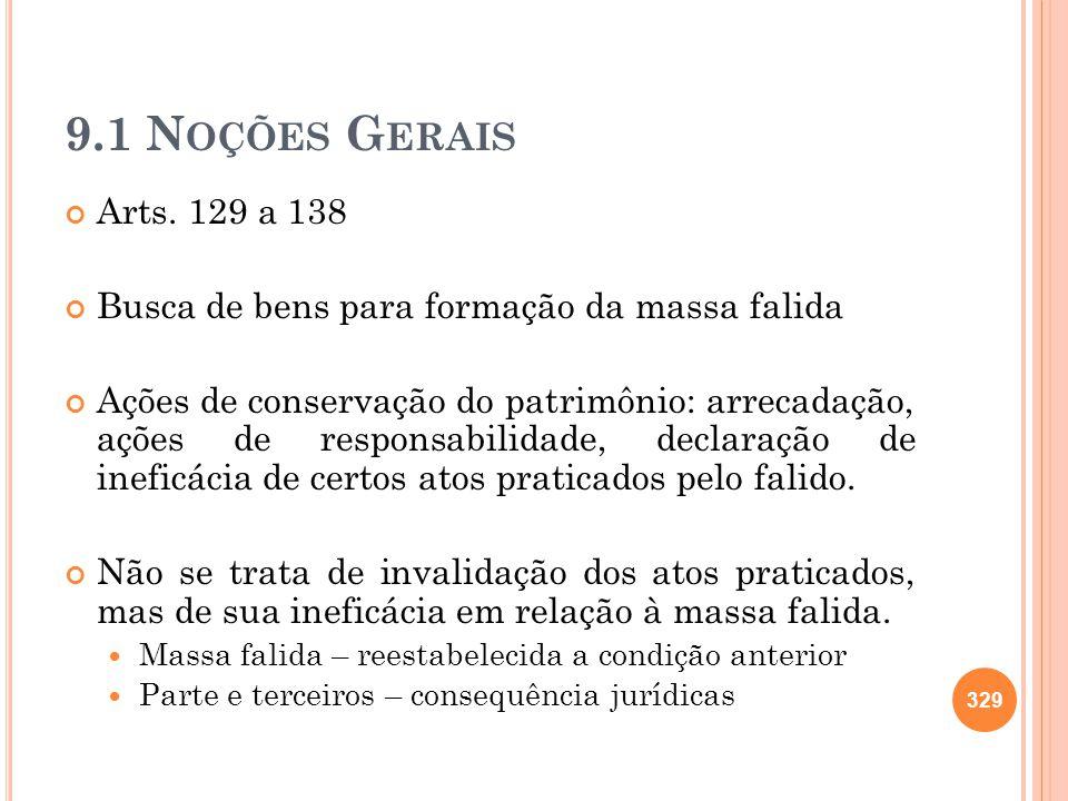 9.1 N OÇÕES G ERAIS Arts. 129 a 138 Busca de bens para formação da massa falida Ações de conservação do patrimônio: arrecadação, ações de responsabili